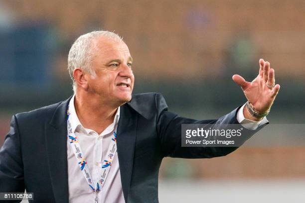 Sydney FC head coach Graham Arnold reacts during the AFC Champions League 2016 - Group Stage - Match Day 6 between Guangzhou Evergrande vs Sydney FC...