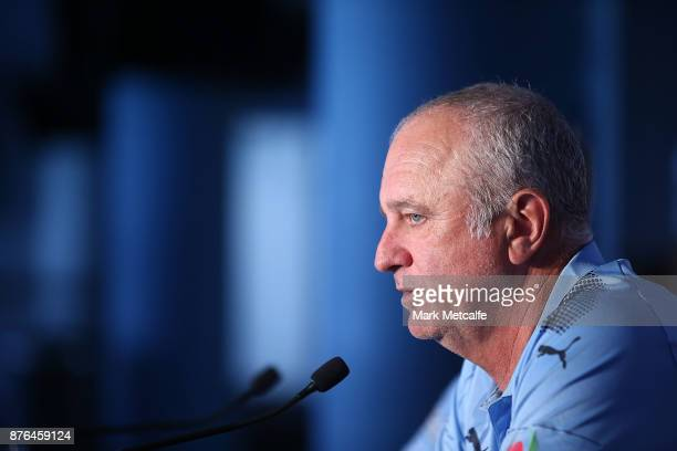 Sydney FC head coach Graham Arnold speaks to the media during a press conference at Allianz Stadium on November 20 2017 ahead of tomorrow's FFA Cup...