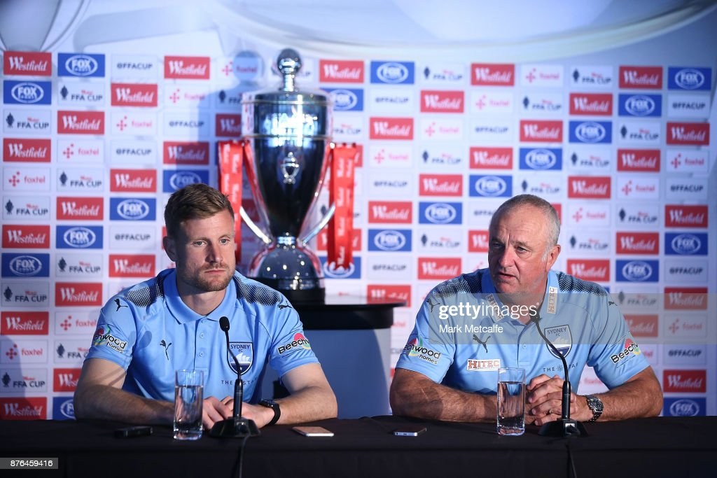 Sydney FC head coach Graham Arnold speaks to the media during a press conference at Allianz Stadium on November 20, 2017 ahead of tomorrow's FFA Cup Final, in Sydney, Australia.
