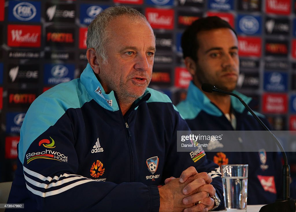 Sydney FC Head Coach, Graham Arnold speaks to the media during the A-League Grand Final press conference at Federation Square on May 16, 2015 in Melbourne, Australia.