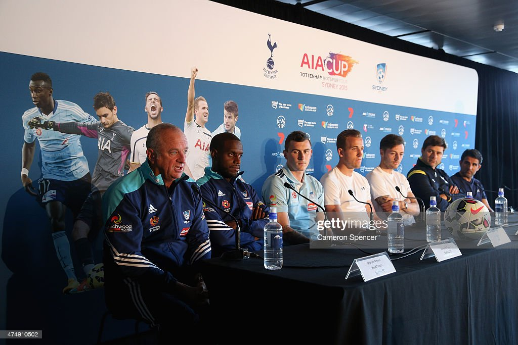 Sydney FC head coach Graham Arnold talks during a Tottenham Hotspur Official Arrival Media Conference at Overseas Passenger Terminal on May 28, 2015 in Sydney, Australia. Hotspur are playing Sydney FC in Sydney on Saturday, May 30th, 2015.