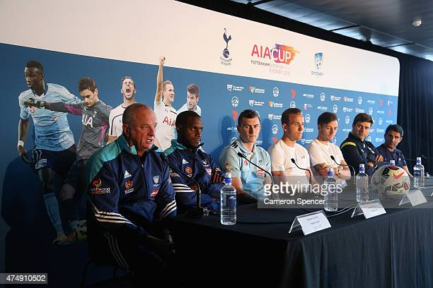 Sydney FC head coach Graham Arnold talks during a Tottenham Hotspur Official Arrival Media Conference at Overseas Passenger Terminal on May 28 2015...