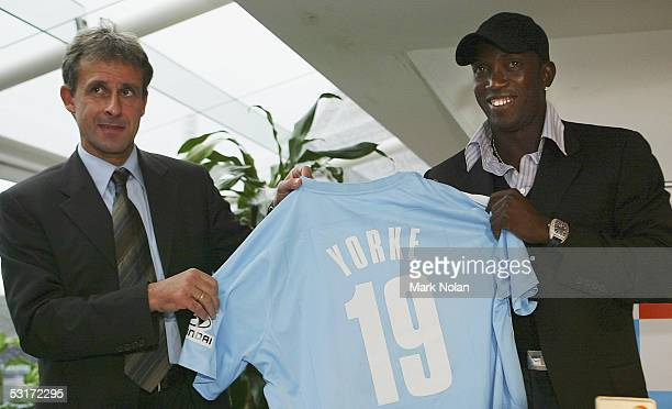 Sydney FC Head Coach Pierre Littbarski and Dwight Yorke are pictured at a press conference held to discuss Yorke's arrival and the season ahead with...
