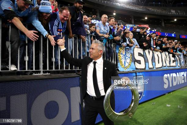 Sydney FC Head Coach Steve Corica celebrates with fans after winning the 2019 ALeague Grand Final match between the Perth Glory and Sydney FC at...