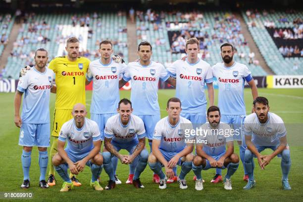 Sydney FC line up during the AFC Asian Champions League match between Sydney FC and Suwon Bluewings at Allianz Stadium on February 14 2018 in Sydney...
