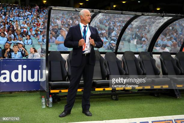Sydney FC Manager Graham Arnold looks on during the round 14 ALeague match between Sydney FC and the Newcastle Jets at Allianz Stadium on January 3...