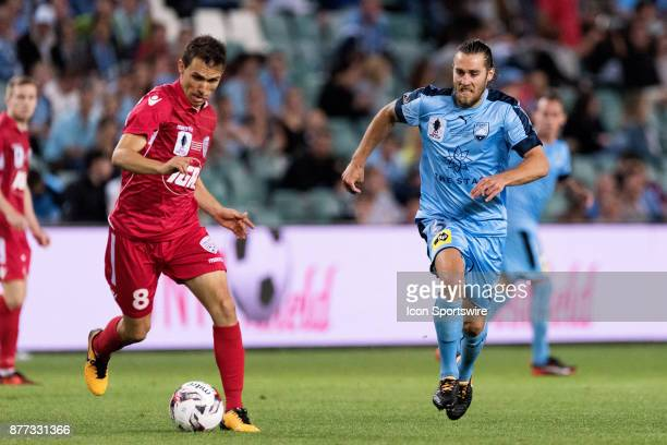 Sydney FC midfielder Joshua Brillante chases down Adelaide United midfielder Isaias at the FFA Cup Final Soccer between Sydney FC and Adelaide United...