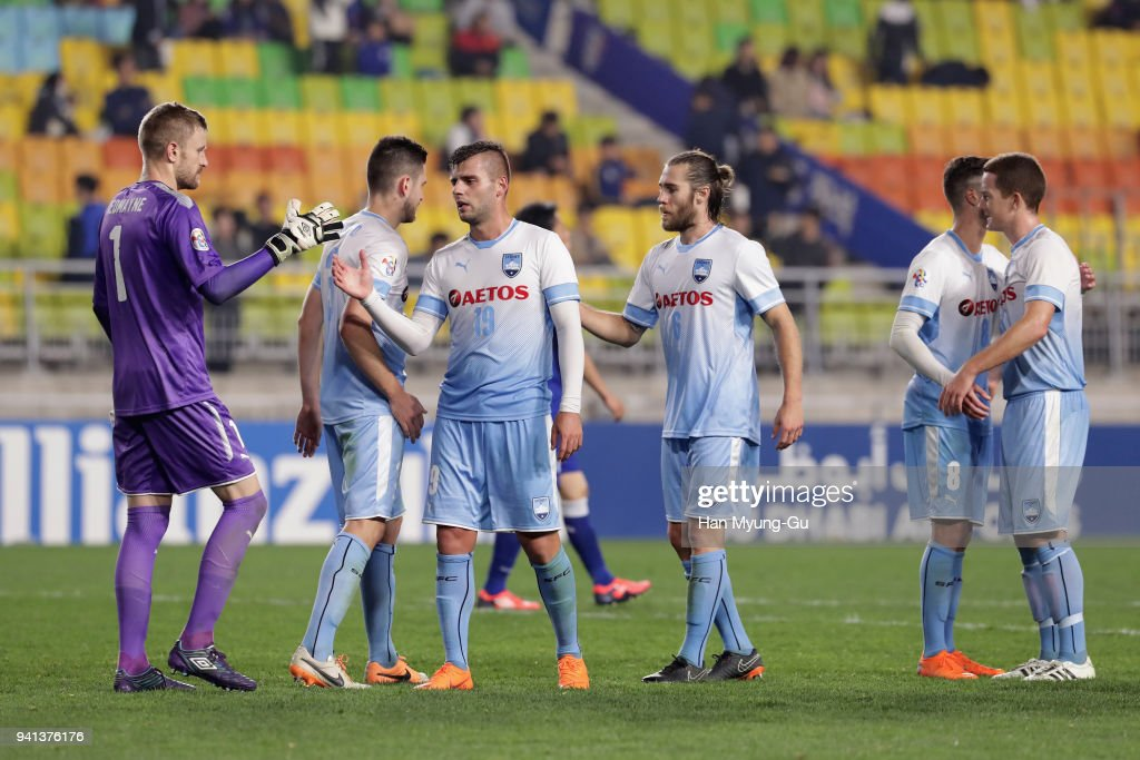 Sydney FC players celebrate their 4-1 victory in the AFC Champions League Group H match between Suwon Samsung Bluewings and Sydney FC at Suwon World Cup Stadium on April 3, 2018 in Suwon, South Korea.