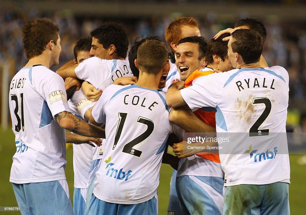 Sydney FC players celebrate winning the A-League Grand Final match between the Melbourne Victory and Sydney FC at Etihad Stadium on March 20, 2010 in Melbourne, Australia.