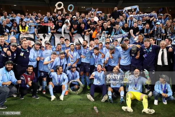 Sydney FC players celebrate with fans after winning the 2019 ALeague Grand Final match between the Perth Glory and Sydney FC at Optus Stadium on May...