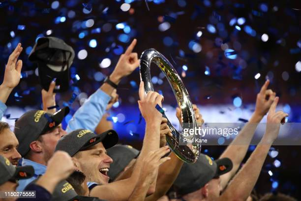 Sydney FC players celebrate with the trophy after winning the 2019 A-League Grand Final match between the Perth Glory and Sydney FC at Optus Stadium...