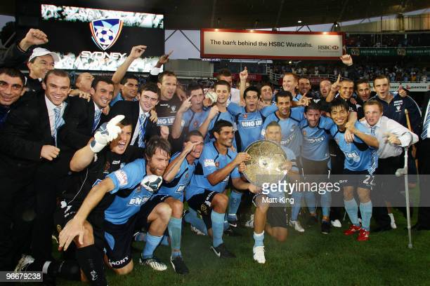Sydney FC players celebrates after winning the minor premiership during the round 27 A-League match between Sydney FC and the Melbourne Victory at...