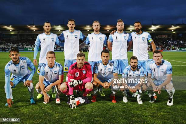 Sydney FC players pose during the FFA Cup Semi Final match between South Melbourne FC and Sydney FC at Lakeside Stadium on October 11 2017 in...