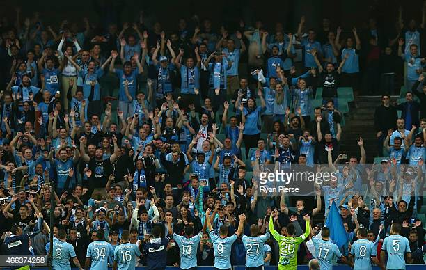 Sydney FC players thank their fans after the round 21 ALeague match between Sydney FC and Brisbane Roar at Allianz Stadium on March 15 2015 in Sydney...