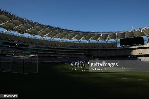 Sydney FC players warm up during a training session ahead of Sunday's A-League Grand Final at Optus Stadium on May 18, 2019 in Perth, Australia.