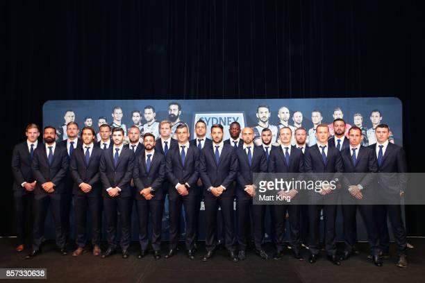 Sydney FC team line up during the Sydney FC 2017/18 ALeague Season Launch at the Westin on October 4 2017 in Sydney Australia