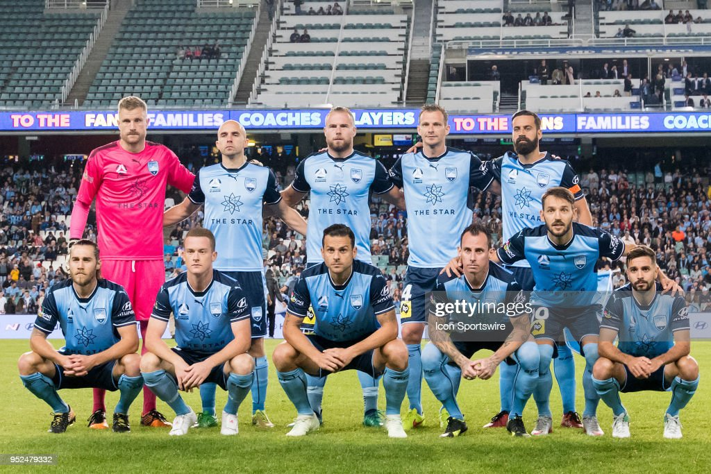 Sydney FC team photo at the A-League Semi-Final Soccer Match between Sydney FC and Melbourne Victory on April 28, 2018 at Allianz Stadium in Sydney, Australia.