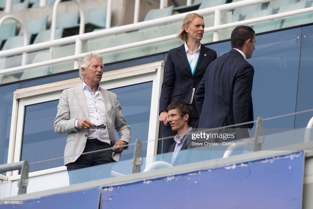 Sydney FC Technical Director Han Berger (left) is seen in the stands during the Round 10 W-League match between Sydney FC and the Newcastle Jets at Allianz Stadium on January 3, 2018 in Sydney, Australia.