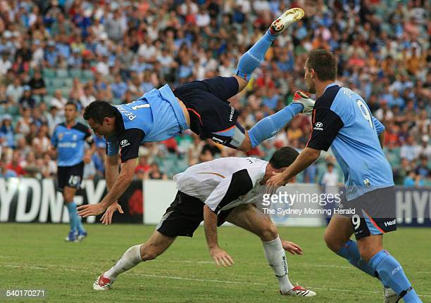Sydney FC versus New Zealand Sydney's Sasho Petrovski goes over the top of Che Bunce while challenging for the ball 7 January 2007 SMH SPORT Picture...