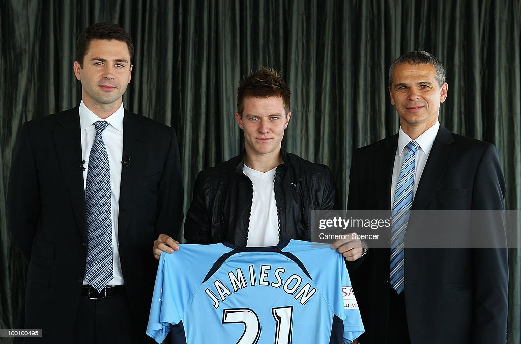 Sydney FC vice-chairman Scott Barlow, Scott Jamieson of Sydney FC and coach Vitezslav Lavicka pose during a Sydney FC A-League press conference announcing Jamieson's signing at Sydney Tower on May 21, 2010 in Sydney, Australia.