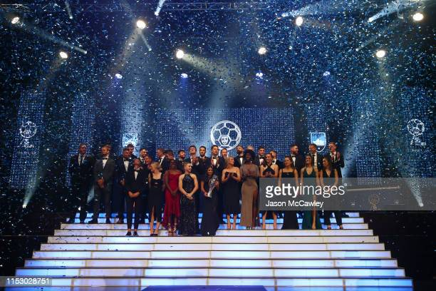 Sydney FC W-League and A-League players are seen on stage during the Sydney FC Sky Blue Ball at The Star on June 01, 2019 in Sydney, Australia.