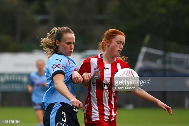 Sydney FC's Ellyse Perry fights for the ball against City's Beatrice Goad during the round one WLeague match between Sydney FC and Melbourne City FC...
