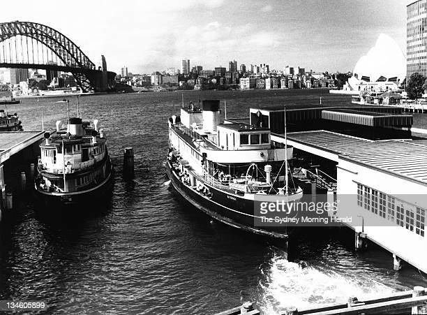 Sydney ferry the Baracoola slips into Circular Quay on one of its last journeys 7 January 1983
