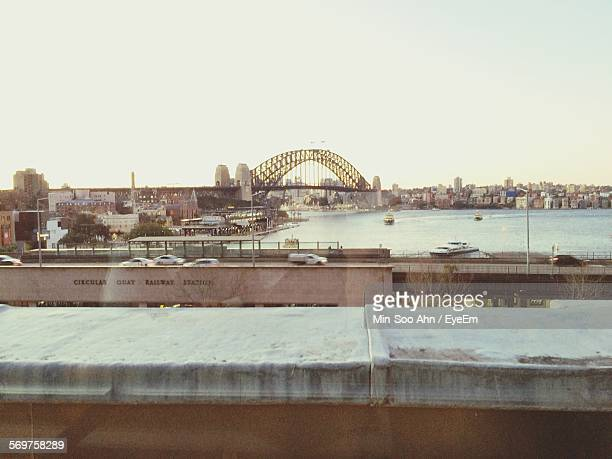 Sydney Harbor Bridge Over River Against Clear Sky In City