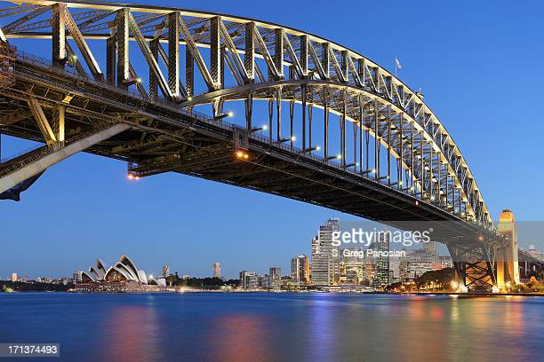 Sydney Harbor Bridge with Sydney Opera House at dusk