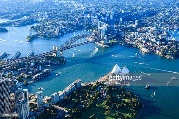 sydney harbor panorama - sydney stock pictures, royalty-free photos & images