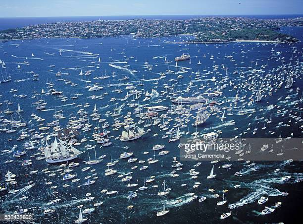 Sydney harbour australia 26th of January 1988. The first fleet reinactment of ships arriving for the bicentenary Celebrations.