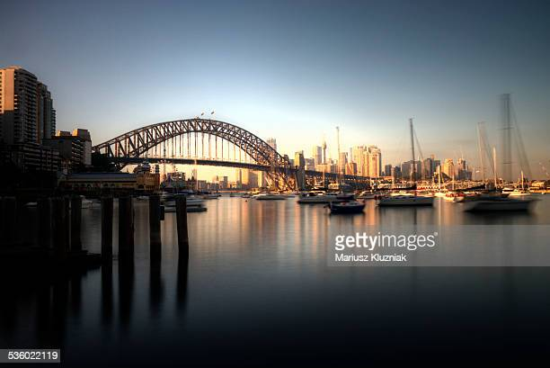Sydney harbour bridge and city sunrise