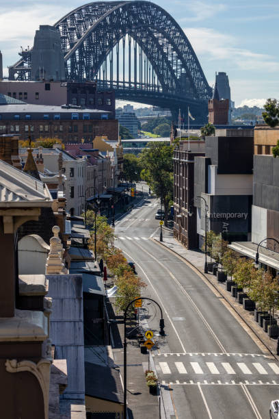 Sydney Harbour Bridge and empty city street during coronavirus pandemic, Australia