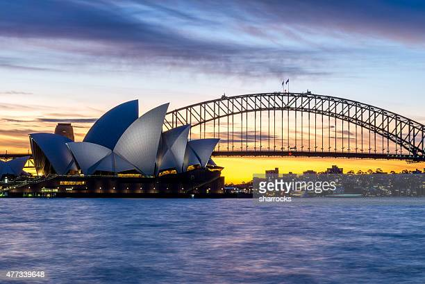 Sydney Harbour Bridge and Opera House at dusk