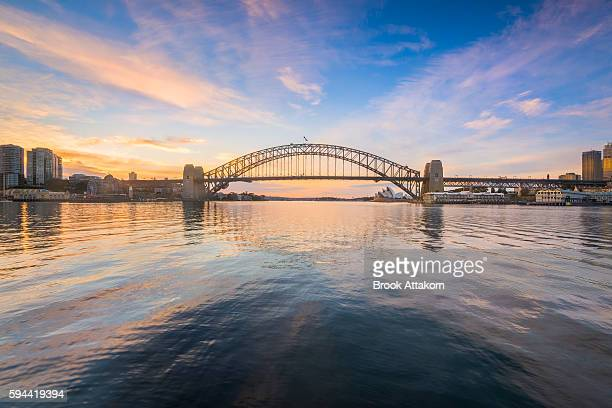 sydney harbour bridge and opera house view from macmahon point. - new bay bridge stock pictures, royalty-free photos & images