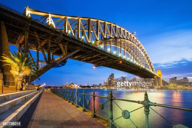 Sydney harbour bridge and skyline at nigh