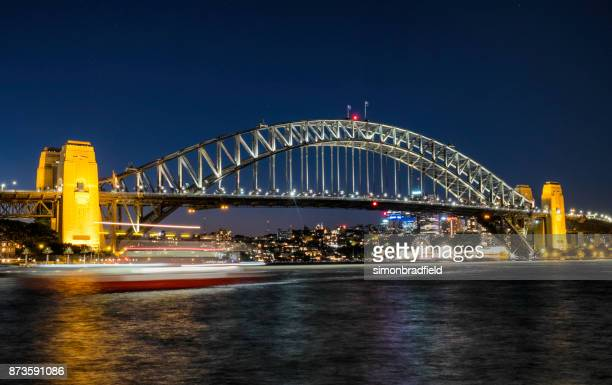 sydney harbour bridge at night - southern hemisphere stock photos and pictures