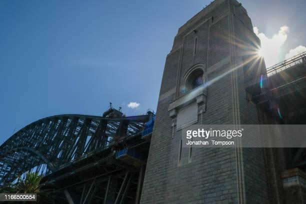sydney harbour bridge low angle stone