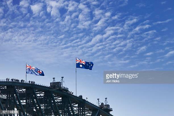 sydney harbour bridge - australian flag stock pictures, royalty-free photos & images