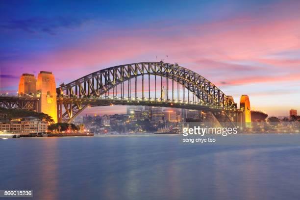 sydney harbour bridge sunrise - international landmark stock pictures, royalty-free photos & images