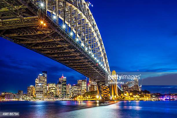 Sydney Harbour Bridge with downtown in the background at dusk