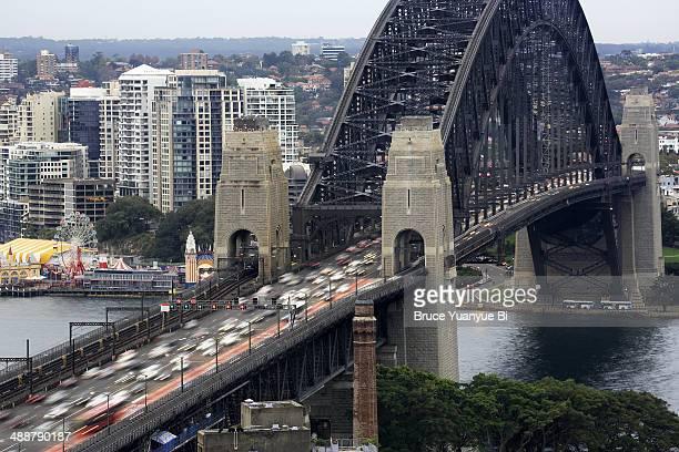 sydney harbour bridge with lavender bay - sydney harbour bridge stock pictures, royalty-free photos & images
