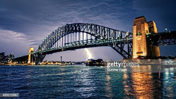 Sydney Harbour Bridge with lightning