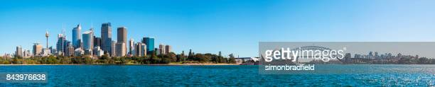 sydney harbour panoramic - sydney stock pictures, royalty-free photos & images