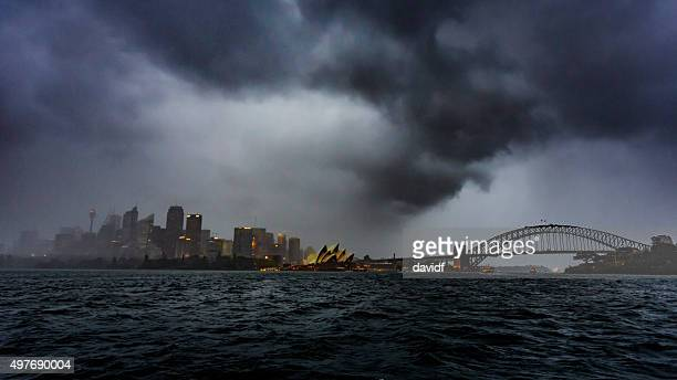 sydney harbour skyline storm - sydney stock pictures, royalty-free photos & images