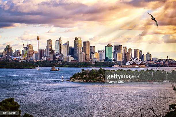 Sydney Harbour skyline with streaming sunlight