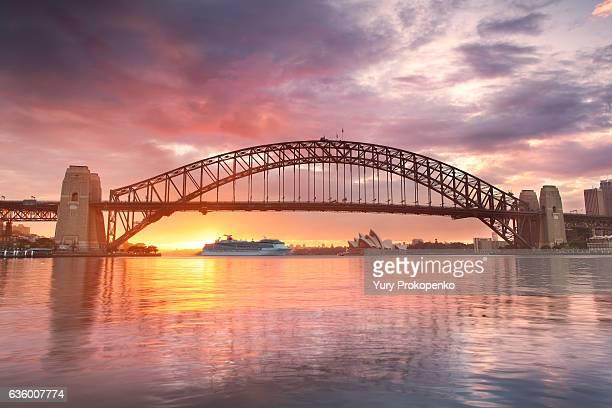 sydney harbour sunrise - sydney harbour bridge stock pictures, royalty-free photos & images