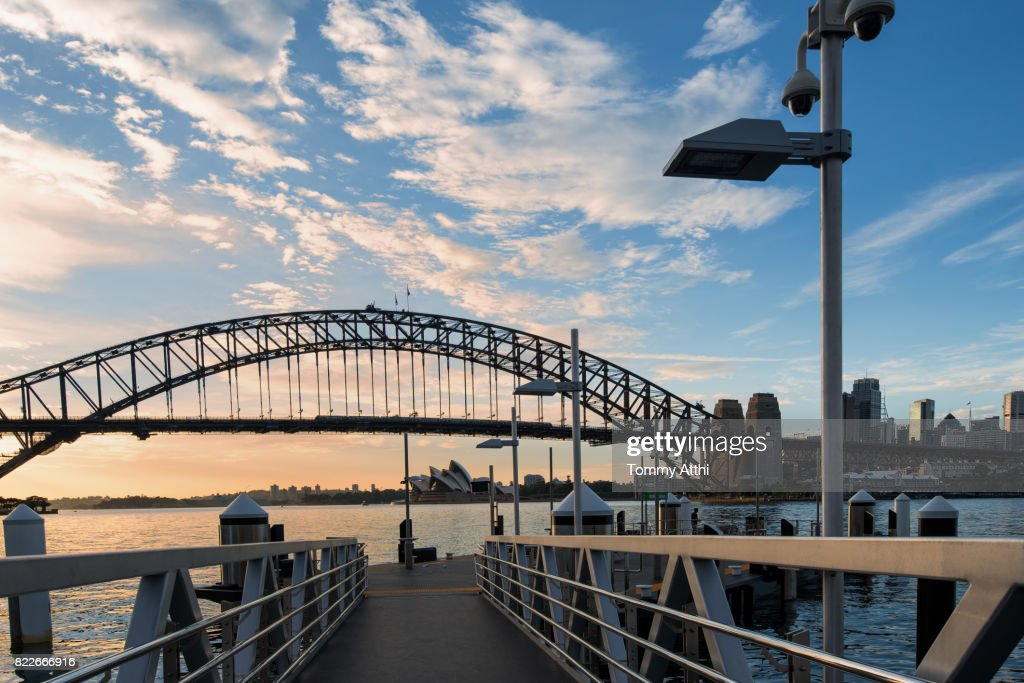 Sydney Harbour view from ferry wharf : Stock Photo