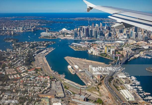 sydney harbour, white bay, balmain, pyrmont and city skyline, australia, aerial photography - darling harbour stock pictures, royalty-free photos & images