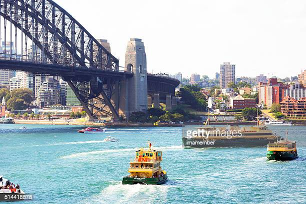 Sydney harbour with Harbour Bridge and ferries
